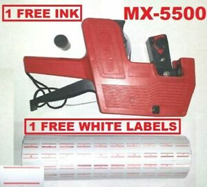 Mx 5500 8 Digits Red Price Tag Gun 5000 White With Red Lines Label 1 Ink
