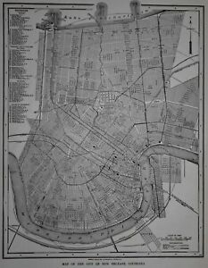 Antique 1926 Atlas City Map New Orleans La Nola Newark Nj New Jersey L K