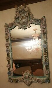 Large Vintage Ornate Porcelain Mirror W Cherubs Flowers Made In Italy
