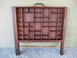Antique Type Tray Vintage Primitive Printers Drawer Shadow Box 39 Sections