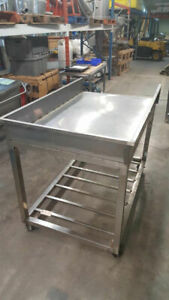 Stainless Steel Table On Wheels 5 Long 35 deep 43 High equi5