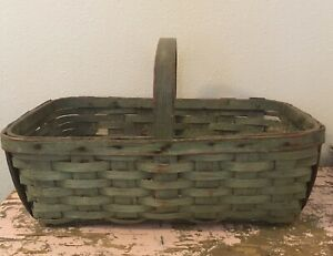 Antique Primitive Flower Gathering Basket Old Teal Paint