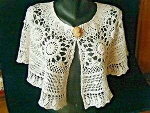 Vtg 20c Bridal Shoulder Cape Bertha Collar White Crochet Lace H Made Medalion