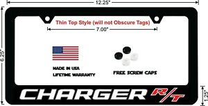 Dodge Charger Rt White Lettering Custom Designed Thin Top License Plate Frame