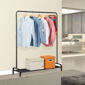 Metal Free Standing Commercial Clothing Garment Rack Hanger Shelf Shoes Storage