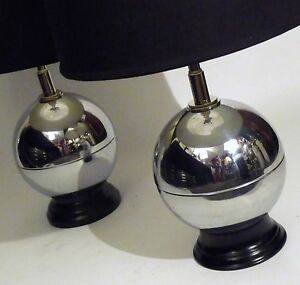 Art Deco Chrome Sphere Ball Form Table Lamps