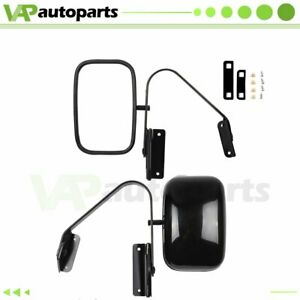 Side View Manual Mirrors Black Pair Set For 1980 96 Ford F series Pickup Truck