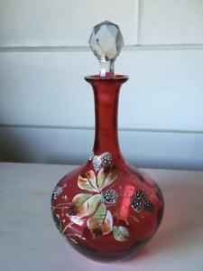 Antique Cranberry Glass Decanter With Raised Enamel Design 10 5
