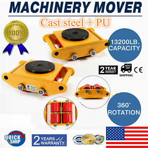 6t Machinery Mover Roller Dolly Skate 360 Rotation Cap 13k Pd Swivel Top Plate