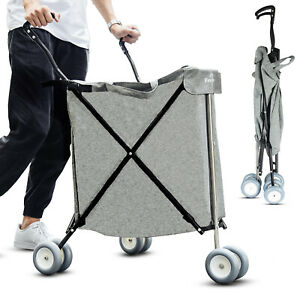 Freshore Grocery Shopping Cart With Wheels Collapsible Push Folding Utility Cart