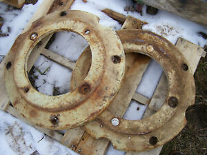Vintage Oliver 1650 Diesel Tractor rear Wheel Weight Set 163696 A