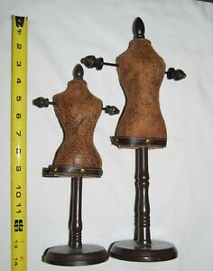 Pair Of Great Small Jewelry Display Mannequins 11 Tall And 14 Tall