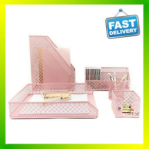 Pink Desk Organizer 5 Piece Accessories Set Office Mesh Pencil Holder Tray Pen