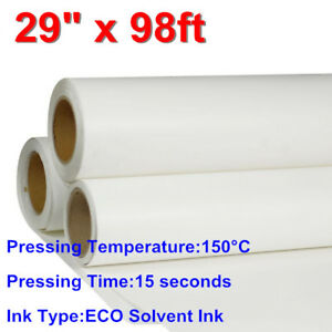 29 X 98ft White Pu Roll Heat Transfer Vinyl Iron on Fabric Htv Press Printable