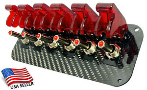 6 Hole Real Carbon Fiber Panel W 6 Led Toggle Switches And Covers Red