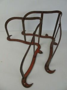 2 Red Antique Iron Saddle Tac Bridle Rack Equestrian Stable Barn Old Coat Hook