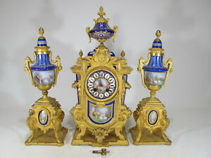 19th C French Japy Freres Gilt Bronze Porcelain Clock Set D9887