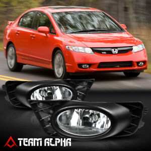 Fits 2009 2011 Honda Civic 4dr clear Bumper Fog Light Lamp W switch wire bezel