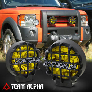6 Round Yellow Universal Fog Light W black 4x4 Offroad Protective Guard switch