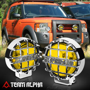 6 Round Yellow Universal Fog Light W chrome 4x4 Offroad Protective Guard switch