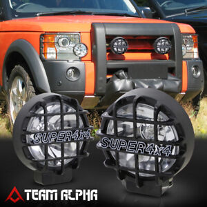 6 Round Clear Universal Fog Light W black 4x4 Offroad Protective Guard switch