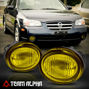 Fits 2002 2003 Nissan Maxima Pair Oe yellow bumper Fog Light Driving Lamp W bulb