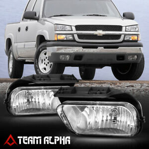 Fits 03 06 Chevy Silverado Crystal Clear Fog Light Bumper Lamps W Switch Harness