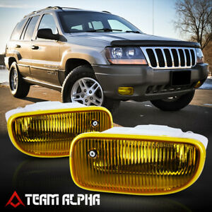 Fits 1999 2004 Jeep Grand Cherokee yellow bumper Fog Light Lamp W switch harness