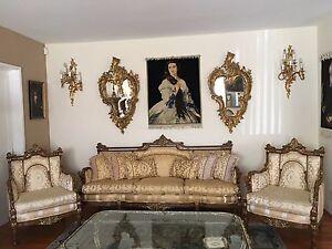 19th C Three Pieces Unique Wood And Gilt Louis Xvi Sofa And Chairs