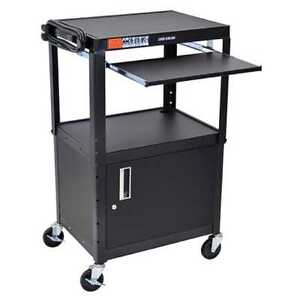 Black Height Adjustable A v Cart With Pullout Keyboard Tray And Cabinet