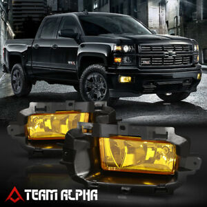 Fits 14 15 Silverado sierra 1500 Yellow Fog Light Lamps W switch harness bezel