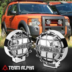 6 Round Clear Universal Fog Light W chrome 4x4 Offroad Protective Guard switch