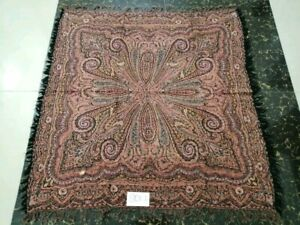 Antique French Paisley Kashmir Square Piano Shawl Wool Size 42 X39 Table Cloth