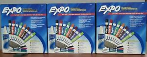 Lot Of 3 Expo 80054 Low odor Dry Erase Markers 15 piece To A Set 36c