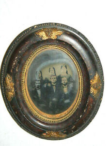 Antique Vtg 1890 S 1900 S Small Oval Picture Frame W 3 Married Couples Photo