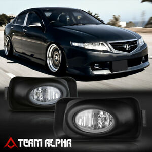 Fits 2004 2005 Acura Tsx Clear Bumper Fog Light Lamp W Switch Wire Harness Bezel