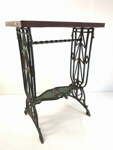 Antique American Wrought Cast Iron Table Ornate Twist Lamp Side End Painted