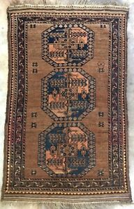 Very Old 1880 S Tribal Afghan Turkemon Hand Knotted Tribe Rug 5 6 X 3 6