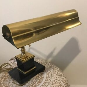 Vtg Adjustable Bankers Piano Desk Lamp Brass Marble Base Double Bulb 14 Bulbs