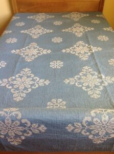 Antique Vintage Embroidered Blue Quilt Incredible Craftsmanship Downsizing