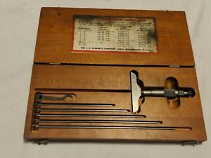 Starrett Depth Micrometer 445 W original Wood Case Gauge Tool Set