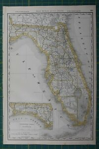 Florida Rand Mcnally Antique Vintage 1892 World Business Atlas Map
