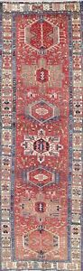 4x11 Heriz Persian Wool Hand Knotted Geometric One Of A Kind Oriental Runner Rug