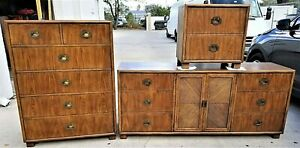 3 Pc Vintage Mcm Dixie Chevron Campaign Bedroom Set Mid Century Modern