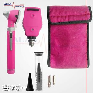 Otoscope Ophthalmoscope Pink Mini Fiber Optic Examination Led Ent Diagnostic