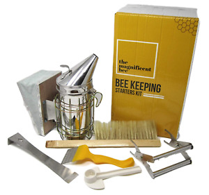 6 Piece Beekeeping Supplies Starters Kit Bee Hive Smoker Uncapping Fork Tool