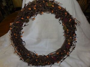 Primitive Berries Wreath 18 Newly Handcrafted Gorgeous Colors Of Pip Berries