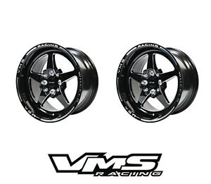 2 15x8 Vms Racing Star 5 Spoke Black Drag Rims Wheels Et20 For Honda Prelude