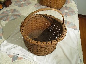 Nice Antique Splint Gathering Basket With Nice Patina