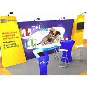 10x20 Waveline Tension Fabric Trade Show Exhibit Booth Display